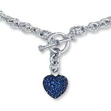 kay jewelers charms kay lab created sapphire dangling heart necklace sterling silver