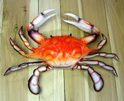 lifelike plastic blue crab replicas nautical theme wall decor