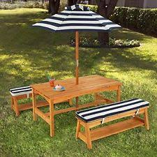 Kids Wooden Picnic Table Children Picnic Table Benches Umbrella Outdoors Weather Resistant