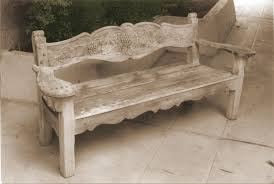 hand made bench grape design redwood hand carved by k m