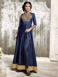 blue color indian designer bollywood front open anarkali dress