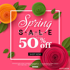 Flowers For Sale Spring Sale Banner With Paper Flowers For Online Shopping