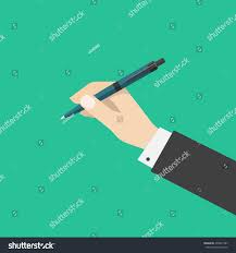 hand holding pen isolated on green stock vector 436991587