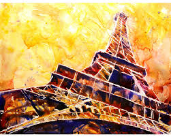 painting of 19th century eiffel tower la tour eiffel in