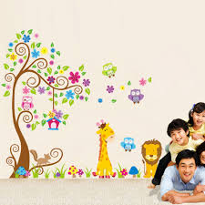 compare prices on nursery wall decorations online shopping buy 64 52 giraffe lion owl tree art wall decals wall sticker mural for