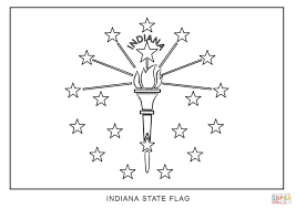 Indiana State Map Flag Of Indiana Coloring Page Free Printable Coloring Pages