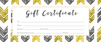 gold arrows aztec tribal gift certificate premade customer