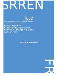 ipcc srren ts climate change mitigation renewable energy