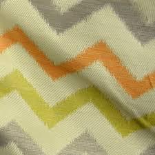 Wool Drapery Fabric Whitaker Cactus Polyester Chevron Grey Orange Green Fabric