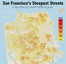 San Francisco Ca Map by The Steepest Streets In San Francisco