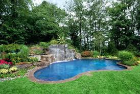 Waterfall For Backyard by Backyard Natural Lagoon Inground Pool And Waterfall Designs And