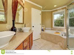 Luxurious Bathroom Luxurious Bathroom Interior In Warm Beige Color Stock Photo