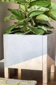 diy faux concrete u0026 gold leaf planter erin spain