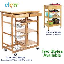 kitchen island shelves clevr rolling bamboo kitchen cart island trolley cabinet w bar
