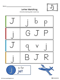 letter j uppercase and lowercase matching worksheet color