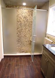 Wood Floors In Bathroom by Wood Tile Pebble Rock Shower Floor Yes Master Bath Reno