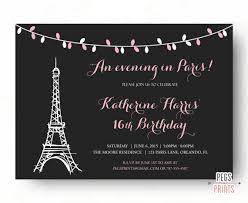 paris sweet 16 birthday invitations printable paris theme