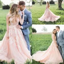 discount 2017 modest blush pink boho wedding dresses white