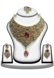 bridal necklace images Stone studded bridal necklace set jjr14643 jpg