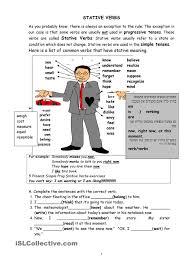 stative verb exercises esl worksheets of the day pinterest