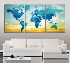 Us Map With Names Push Pin Travel World Map Wall Art Print Blue World Map With