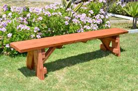 Round Redwood Picnic Table by Classic Wooden Picnic Bench Forever Redwood