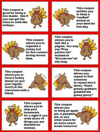 turkey classroom reward coupons for november and thanksgiving