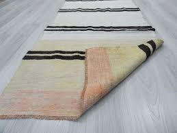 Black White Runner Rug Handwoven Vintage Black And White Striped Turkish Hemp Kilim