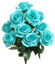 teal roses 12 open stem roses turquoise teal silk wedding flowers