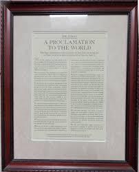 framed family proclamation spherical model the family proclamation turns twenty