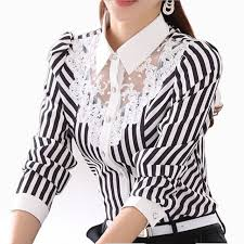 striped blouse 2017 sleeve lace tops striped blouse autumn turn