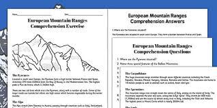 european mountain ranges reading comprehension activity