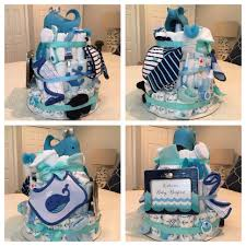 whale themed diaper cake for a baby boy shower loaded with