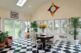 unique and creative dining room floor design with black and white