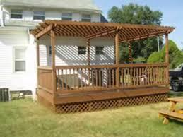 Pre Built Pergolas by Deck With Pergola Arbor Construction Youtube