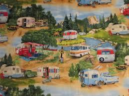 retro campers vintage trailer retro rv camper moutain truck cotton fabric fat