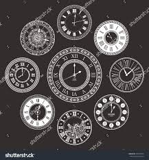vector vintage clock dials set classic stock vector 504543964