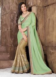 pista green cream embroidery work georgette chiffon satin designer