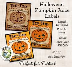 halloween pumpkin juice label digital download printable party