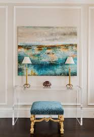 Turquoise Console Table Turquoise Blue And Gold Abstract Canvas Art With Lucite Console