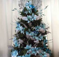 on best white christmas tree with blue and gold decorations s