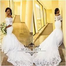 wholesale half sleeves lace mermaid wedding dress vintage applique
