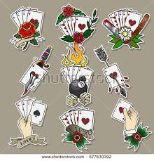 set cards dice flowers traditional stock vector 677630392