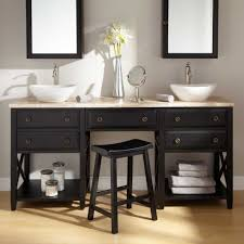 Bathroom Square Sink Rectangle Mirror Bathroom Shelf Rack Brown Wooden Toiletries Tray Built In Wooden