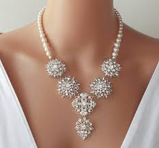 pearl crystal statement necklace images 57 crystal pearl necklace statement necklace wedding necklace jpg