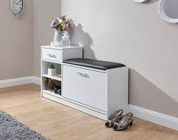 hallway shoe storage cabinet telephone table padded seat 1 door 1