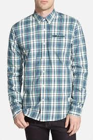scotch u0026 soda pocket square plaid button down shirt slim fit in