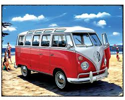 volkswagen beach vw samba bus beach metal wall sign
