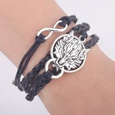 leather bracelet with silver charms images Men leather bracelet vintage punk antique silver dragon bracelets jpg