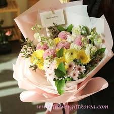 flower gift pom poms and gerbera flower bouquet flower delivery south korea